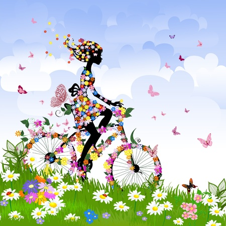 butterfly silhouette: Girl on bike outdoors in summer