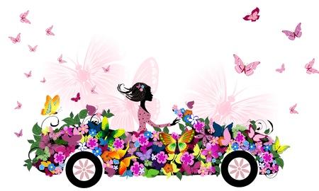 auto illustratie: vrouw op vintage bloem auto