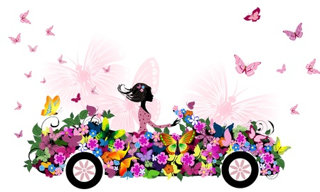 car drawing: woman on vintage flower car