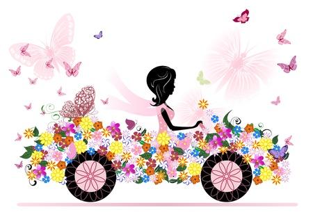 femme papillon: jeune fille sur une voiture de fleurs romantiques