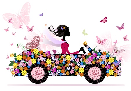 spring fashion: girl on a romantic flower car