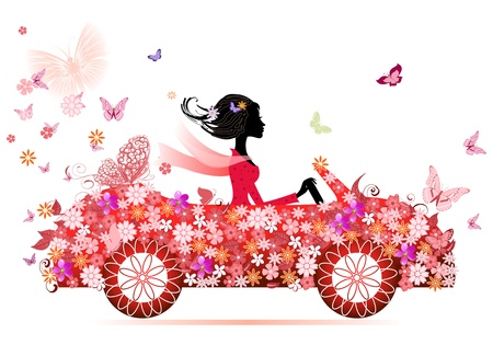 girl on a red flower car Vector