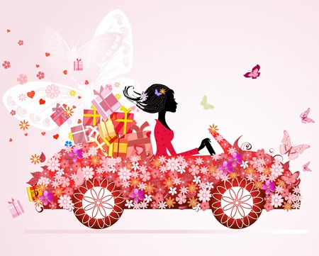 car wheels: girl on a red car with floral gifts