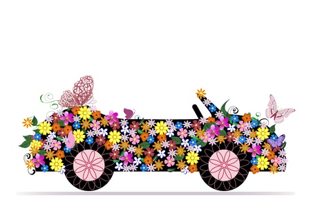 transportation cartoon: convertible from flowers and butterfly