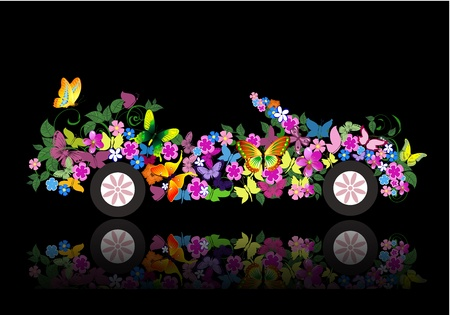 car leaf: convertible from flowers and butterfly