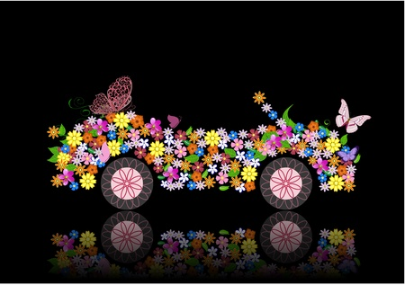 convertible car: convertible from flowers and butterfly