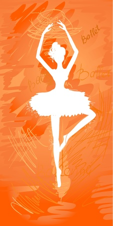 silhouette painted ballerinas Vector