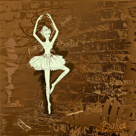 cartoon ballerina: hands painted dancers in the background grunge Illustration
