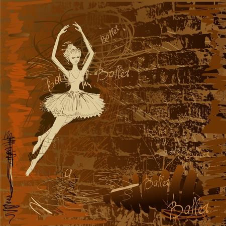 ballet dance: hands painted dancers in the background grunge Illustration