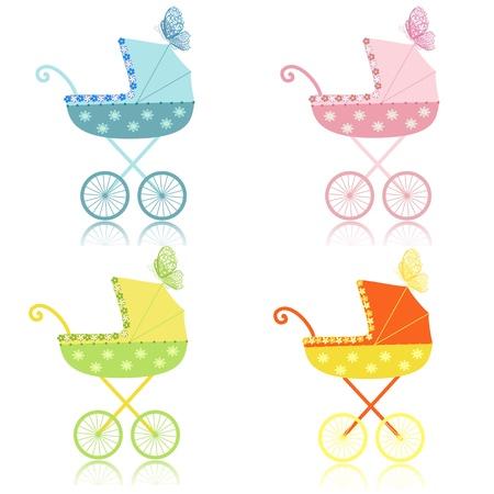 cochecito de bebe: cochecitos Vectores
