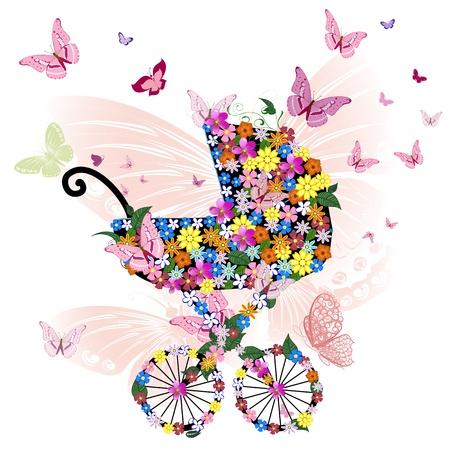 shower b�b�: Poussette de fleurs et de papillons Illustration