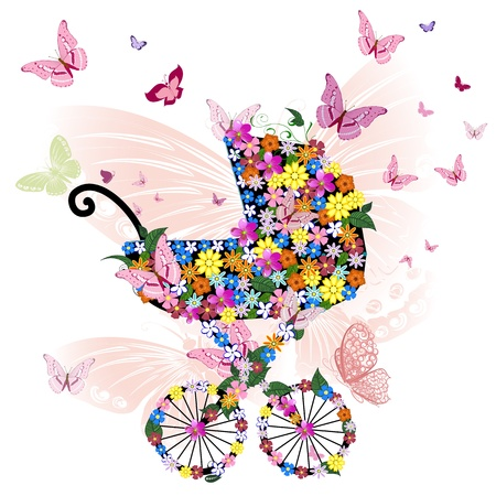 girl in shower: Stroller of flowers and butterflies Illustration