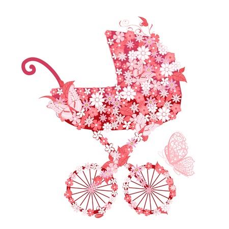 invitacion baby shower: Cochecito de flores para niñas Vectores