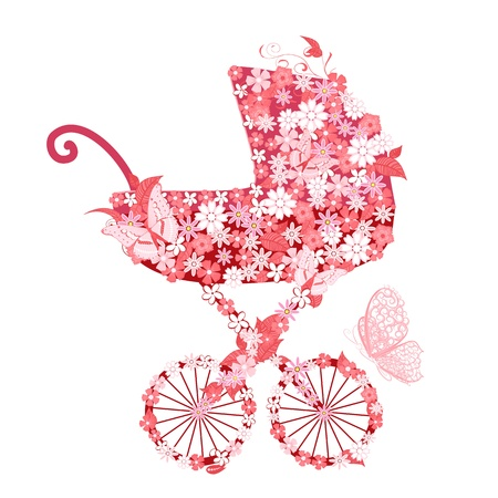 baby shower party: Stroller of flowers for girls