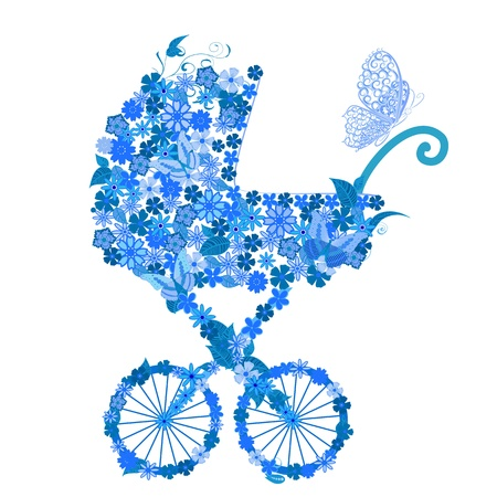 cochecito de bebe: Cochecito de flores para un chico Vectores