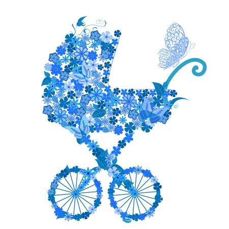 perambulator: Passeggino di fiori per un ragazzo Vettoriali