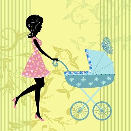 cochecito de bebe: mujer con un cochecito de ni�o Vectores
