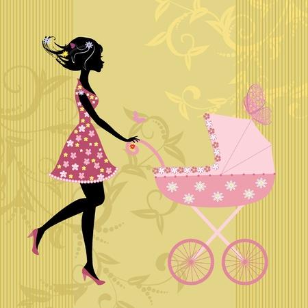 frau dusche: Junge Mutter mit einem Kinderwagen Illustration