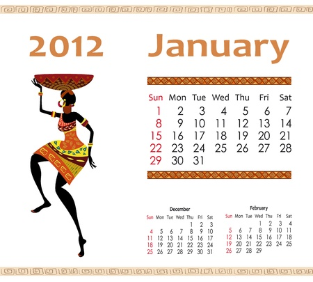 calendar for 2012 with an African woman Vector