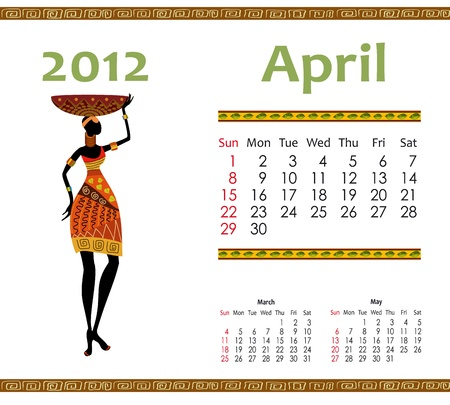 calendar for 2012 with an African woman Stock Vector - 10699090