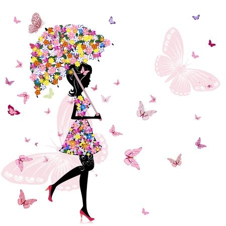 blumen cartoon: Blume M�dchen mit Regenschirm