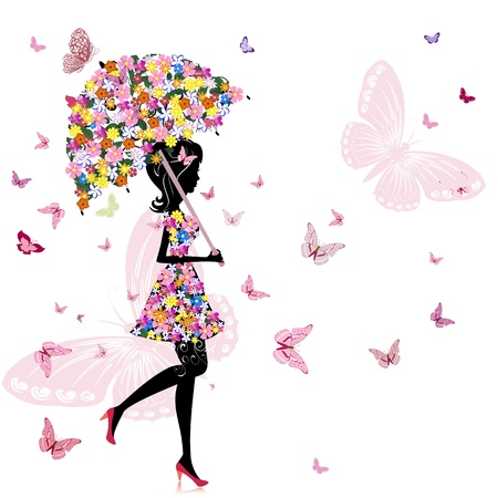 butterfly and women: flower girl with umbrella