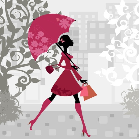 beautiful woman with umbrella Vector