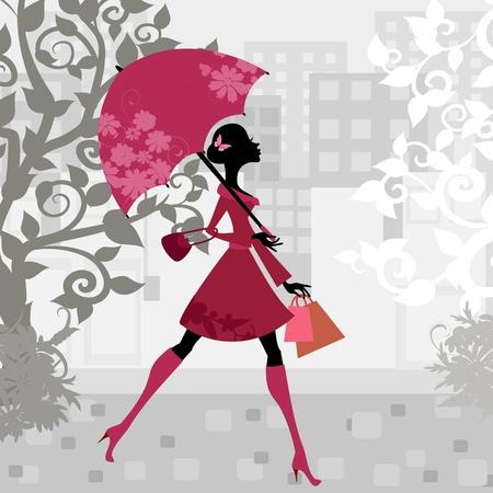 Belle femme avec parapluie Banque d'images - 10699094