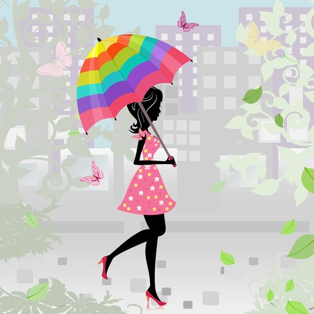 beautiful girl with an umbrella in the city Stock Vector - 10699099