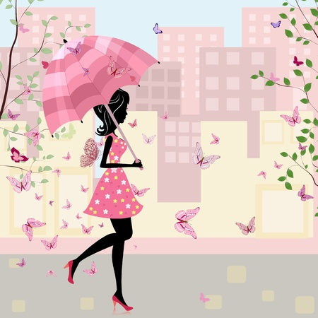 butterfly and women: beautiful girl with an umbrella in the city