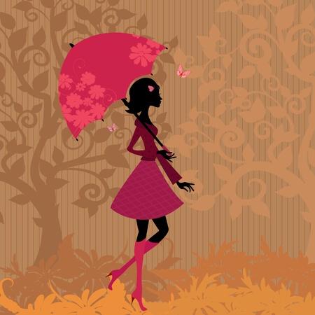 autumn fashion: woman under an umbrella in the autumn