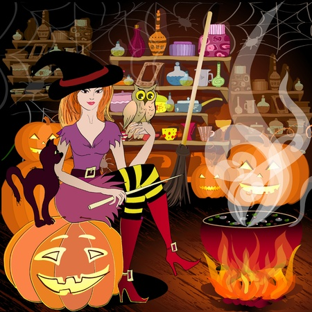 Enchantress is preparing for Halloween Stock Vector - 10699118