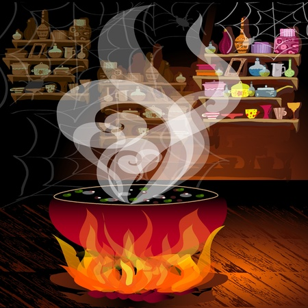 Magic pot on the fire Stock Vector - 10699124