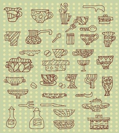 dibujo vintage: Fondo de utensilios de cocina Vectores