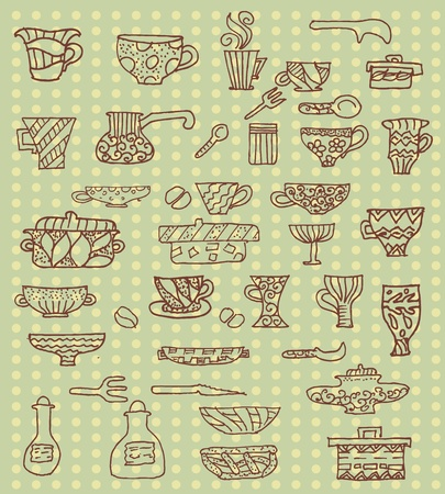 vintage dishware: kitchen utensils background