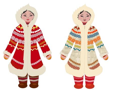 vestidos antiguos: chica en traje tradicional de los pueblos del Norte Vectores