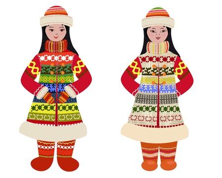 esquimal: chica en traje tradicional de los pueblos del Norte Vectores