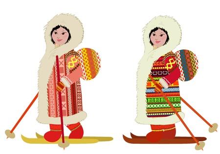 woman in fur coat: Eskimo girl in ski bag Illustration