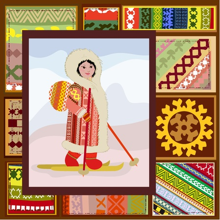 ethnic pattern of the northern woman Vector