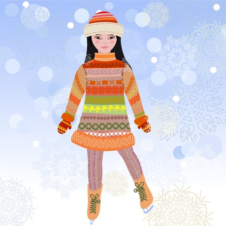 girl skating in winter on the ice Vector