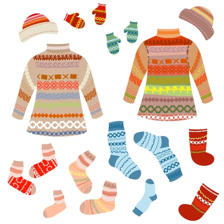Warm knitting patterns with Vector