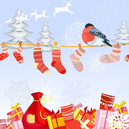 Clothes line for Christmas  Vector