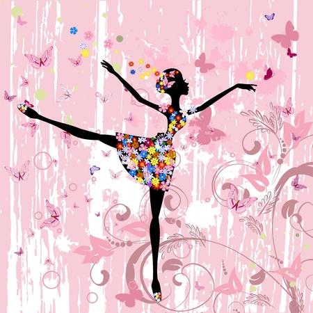 танцор: Балерина девушка с цветами с гранж бабочек