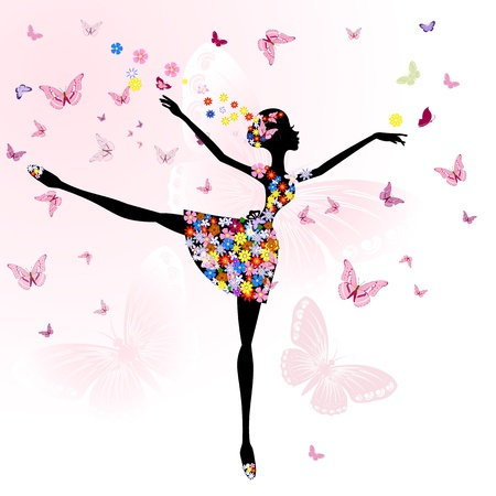 donna farfalla: ragazza ballerina di fiori con farfalle Vettoriali