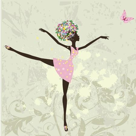 ballerina girl with flowers on grunge background Vector