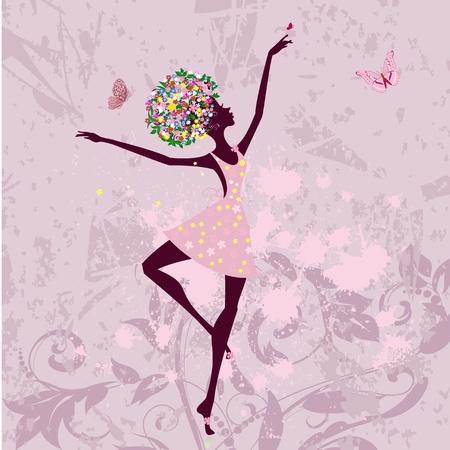 ballerina silhouette: ballerina girl with flowers on grunge background
