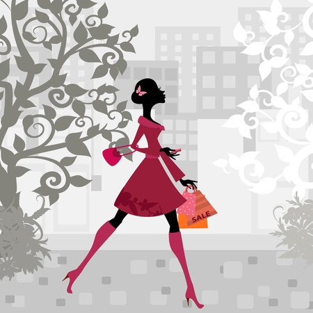 happy shopper: urban shopping girl