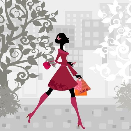 fashion bag: urban shopping girl