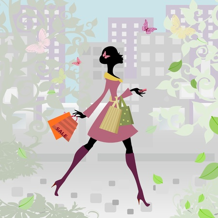 romantic city shopping girl Illustration