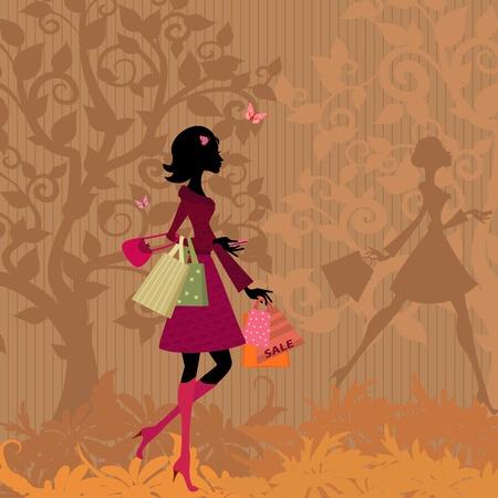 donna farfalla: ragazza con shopping nel parco in autunno Vettoriali